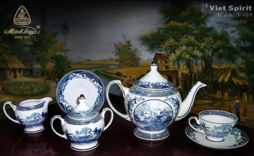 Bộ ấm trà gốm sứ minh long hoàng cung hồn Việt